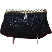 Vintage Josef Beaded Evening Purse with Rhinestone Frame