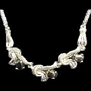 SALE Vintage Van Dell Sterling Necklace with Hematite Stones