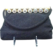 Vintage French Hand Made Beaded Evening Purse with Enameling and Mother of Pearl