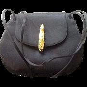 VIntage Leiber Satin Evening Bag with Ornate Closure