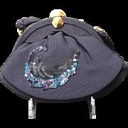 "SALE VIntage Midnight Blue ""Peacock"" Sequin Evening Bag"