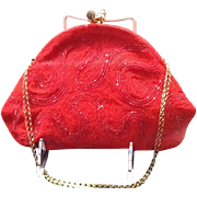 VIntage Micro Beaded Red Evening Bag with Deco Influences