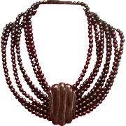 SOLD Vintage Gerda Lynggaard Horn and Wood Multi Strand Bib Necklace