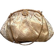 Vintage French Brocade Evening Bag with Rhinestone Frame