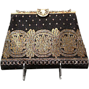 VIntage French Steel Bead Evening Bag with Ornate Frame