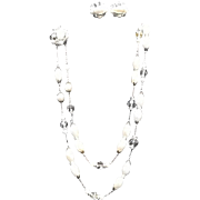 SALE PENDING VIntage Demi Parure by Schiaparelli:  Pearl Necklace and Earrings