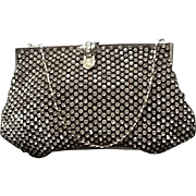 "Vintage Rhinestone Evening Bag with ""Deco"" Clasp"