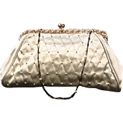 "VIntage ""Revivals"" Evening Purse with Mid Century Faux Pearl Frame *** NEVER USED***"