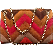 VIntage Tano of Madrid Chevron Suede Handbag