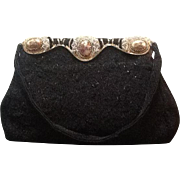Vintage French Beaded Evening Purse with Ornamentation and Porcelain Plaques