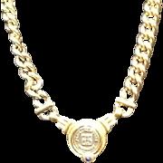 Vintage Givenchy Logo Medallion Necklace