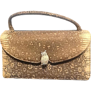 Vintage Judith Leiber Ring Lizard Handbag with Jeweled Owl Ornamentation