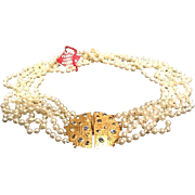 VIntage Hobe Five Strand Majorca Pearl Necklace with Ornate Clasp*** Never Worn***