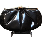 Vintage Leiber Patent Leather Handbag with Jeweled Clasp