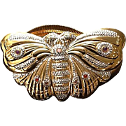 Vintage Judith Leiber Double Stretch Belt with Huge Jeweled Encrusted Butterfly Clasp
