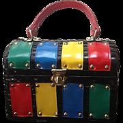 "Vintage 1960's Mod Colorful ""Lunchbox""  Wicker Handbag"