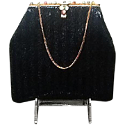 Vintage Beaded Evening Purse with Jeweled Frame