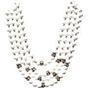 Vintage Haskell Multi Strand Milk Glass Necklace with Rhinestones