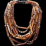 VIntage Monies Multi Strand Torsade Necklace ***Signed***