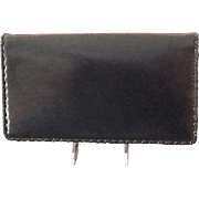 VIntage Leiber Black Leather Clutch with Whipstitch