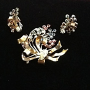 SALE Vintage Demi Parure:  Brooch and Earrings