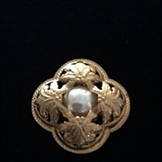SALE Vintage Haskell Brooch with Faux Pearl