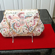 SALE Vintage Josef Purse with Tambour Embroidery and MOP frame