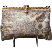 Vintage Steel Beaded French Evening Purse with Jeweled Frame
