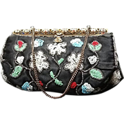 SALE PENDING VIntage French Silk Beaded Purse with Champleve Enameling