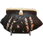 SOLD Vintage French Evening Purse Tambour Embroidered with Beaded Frame