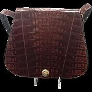 Vintage Colombetti  Alligator Impressed Leather Messenger Bag