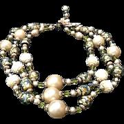 Amazing Vintage Vendome Triple Strand Crystal  Beaded Necklace