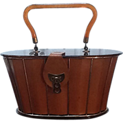SOLD Unusual VIntage Dorset Rex Leather Cage Bag with Lucite Lid