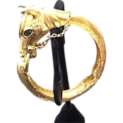 SOLD VIntage Pauline Rader Equestrian Clamper Bracelet with Jeweled Accents