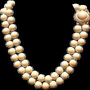 SALE VIntage Ciner Faux Angel Skin Coral Necklace