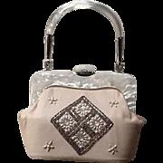 VIntage Funky Lucite, Leather, Chrome and Jewels Mid Century Handbag
