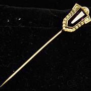 SALE Vintage Purple Stick Pin with Laurel Frame