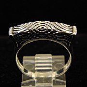SALE Vintage Sterling Silver Raised Band with Geometric Texturing size 9.25