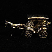 SALE Vintage Sterling Silver Moving Charm - Horse Drawn Carriage