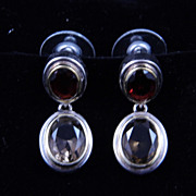 SALE Sterling Silver Articulated Garnet and Smoky Quartz Post Earrings