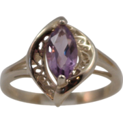 SALE Vintage Avon Sterling Silver and Marquis Amethyst Ring size 7.25
