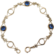 SALE Gold Filled Royal Blue Paste Link Bracelet