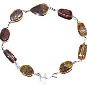 SALE Vintage Amber Nugget and Gold Filled Wire Bracelet