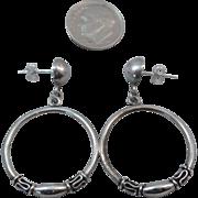 SALE Sterling Silver Ethnic Dangle Hoop Earrings