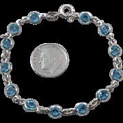 SALE Vintage Sterling Silver Blue Crystal 7 inch Line Bracelet