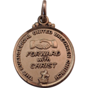 SALE Sterling Silver Vintage FORWARD WITH CHRIST Evangelical United Brethren Disk Charm