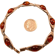 SALE Sterling Silver and Oval Amber 7 3/4 inch Bracelet