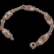 SALE 835 Silver Wooden Shoe 7 1/2 inch Bracelet