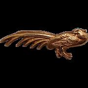 SALE Vintage Alva Museum Gold Tone Pheasant Brooch