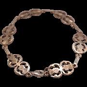 SALE Sterling Silver Thistle Link Celtic 7 1/2 inch Bracelet